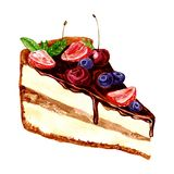 Watercolor piece of chocolate cake Stock Images