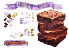 Watercolor pieces of chocolate brownie Stock Image