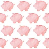 Watercolor piggy bank pattern. Money concept. Illustration for design, print or background.  Royalty Free Stock Image