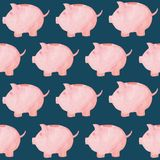 Watercolor piggy bank pattern. Money concept. Illustration for design, print or background.  Stock Photos