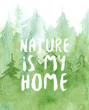 Watercolor pine forest background, green trees illustration, nature is my home lettering Stock Photos
