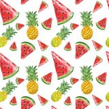 Watercolor pineaple and sliced watermelon seamless pattern. Summer background with fresh juicy tropical fruits. Exotic summer fruits seamless pattern with fresh stock illustration