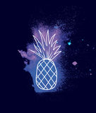 Watercolor pineapple Stock Images