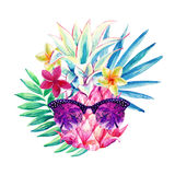 Watercolor pineapple with sun glasses, fan palm leaf and exotic flowers. Stock Photos