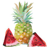 Watercolor Pineapple and Watermelon isolated Royalty Free Stock Photography