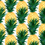 Watercolor pineapples pattern. Repeating texture with realistic pineapple on white background. Fashion summer wallpaper design.  Stock Photo