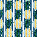 Watercolor pineapples seamless pattern in abstract style. Fashion summer print design.  vector illustration