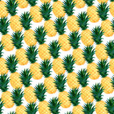 Watercolor pineapples seamless pattern. Fashion summer wallpaper design royalty free illustration