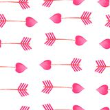 Watercolor pink arrow pattern Arrows Valentines Day Elements. With Watercolor Texture stock illustration