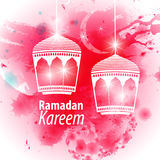 Watercolor pink blob illustration Ramadan kareem. Mubarak. Beautiful islamic stylized lantern traditional greeting card wishes holy month and karim muslim. Star