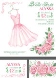 Watercolor pink bridal shower invitation.Dress Stock Images