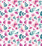 Watercolor Pink Butterflies, Flowers And Leaves Repeat Pattern Stock Photography