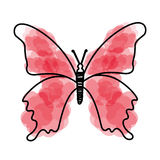 Watercolor pink butterfly cartoon. Vector graphic design Royalty Free Stock Photography