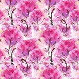 Watercolor pink cherry sakura seamless pattern texture background Royalty Free Stock Image