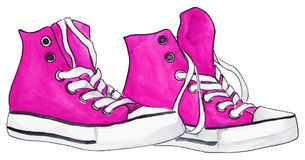 Watercolor pink crimson sneakers pair shoes isolated vector.  vector illustration