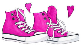 Watercolor pink crimson sneakers pair shoes hearts love vector.  vector illustration