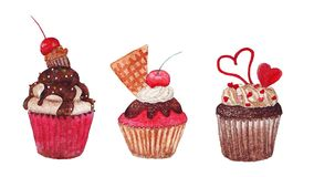 Watercolor pink cupcakes Stock Photography