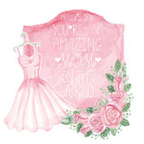Watercolor pink dress, roses decor,badge.Mother day card Royalty Free Stock Photos