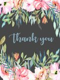 Watercolor pink field carnations, blue and green branches card template, hand drawn on a dark background. Thank you card design Royalty Free Stock Images