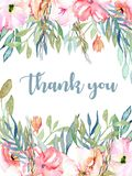 Watercolor pink field carnations, blue and green branches card template. Hand drawn on a white background, Thank you card design Royalty Free Stock Image