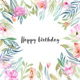 Watercolor pink field carnations, blue and green branches card template. Hand drawn on a white background, birthday card design Royalty Free Stock Photo