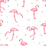 Watercolor pink Flamingo seamless pattern stock illustration