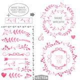 Watercolor pink floral brushes and wreath set template Stock Photo