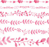 Watercolor pink floral seamless pattern borders Royalty Free Stock Photography