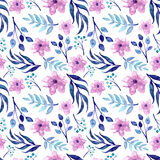 Watercolor Pink Flowers And Blue Leaves Repeat Pattern Royalty Free Stock Images