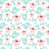 Watercolor Pink Flowers And Green Leaves Seamless Pattern Stock Images