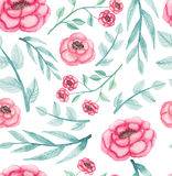 Watercolor Pink Flowers And Light Green Leaves Repeat Pattern. Seamless Pattern of Watercolor Pink Flowers And Light Green Leaves Stock Image