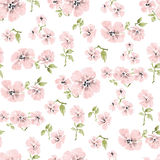 Watercolor pink flowers pattern Royalty Free Stock Photos