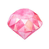 Watercolor pink gem fashion illustration Royalty Free Stock Photo