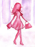Watercolor pink girl. Water color the pink girl makes purchases Stock Photo