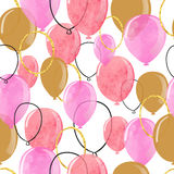 Watercolor pink and glittering gold balloons seamless pattern. Royalty Free Stock Photos