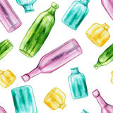 Watercolor Pink, Green. Yellow And Blue Bottles Seamless Pattern Royalty Free Stock Photography