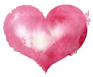 Watercolor pink heart with a lace edge. Watercolor pink heart with light and shade, painted by hand Stock Illustration