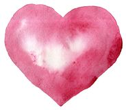 Watercolor pink heart. With light and shade, painted by hand Stock Illustration