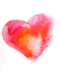 Watercolor pink heart Stock Photography
