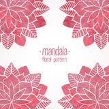 Watercolor pink lace floral patterns on white background. Vector Stock Image