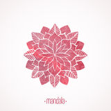 Watercolor pink lace pattern. Vector element. Mandala Stock Photography
