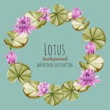 Watercolor pink lotus wreath, greeting card template. Hand painted on a blue background Royalty Free Stock Photography