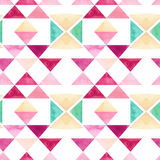 Watercolor Pink Mosaic Seamless Pattern with Triangles Stock Photo