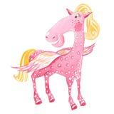 Watercolor pink Pegasus Stock Images