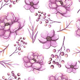 Watercolor Pink Peonies, Berries And Leaves Seamless Pattern Stock Photography