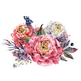Watercolor Pink Peonies and Lilac Bouquet Stock Images