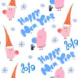 Watercolor pig, new year set, cartoon illustration isolated on white background. Watercolor pink pig , new year set 2019, cartoon seamles pattern illustration vector illustration