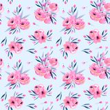 Watercolor pink poppies bouquets seamless pattern. Hand drawn on a blue background Royalty Free Stock Photos