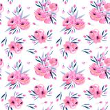 Watercolor pink poppies bouquets seamless pattern. Hand drawn on a white background Royalty Free Stock Photography