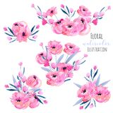 Watercolor pink poppies and floral branches bouquets collection. Hand drawn isolated on a white background Stock Photography